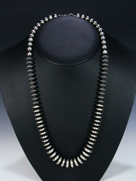 Native American Long Single Strand Sterling Silver Necklace