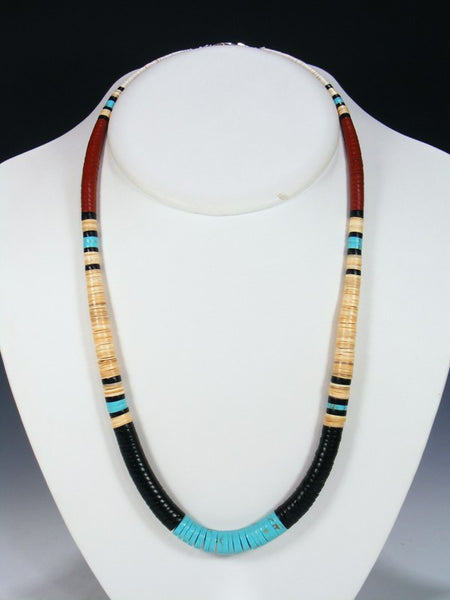 Native American Indian Santo Domingo Jet Necklace