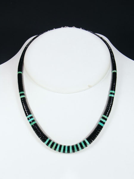 Native American Indian Jewelry Jet and Turquoise Necklace