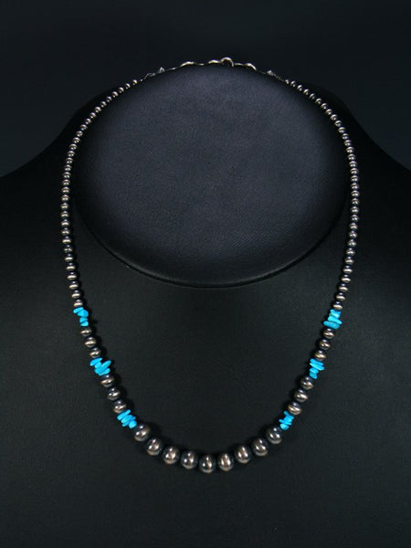 Navajo Jewelry Single Strand Blue Turquoise Necklace