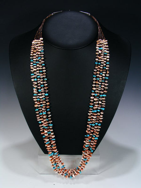Native American Indian Jewelry 5 Strand Turquoise and Shell Necklace