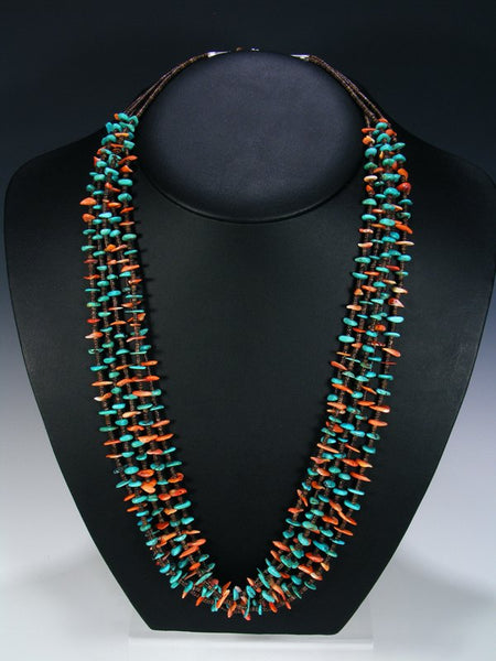 Native American Turquoise and Spiny Oyster Five Strand Necklace