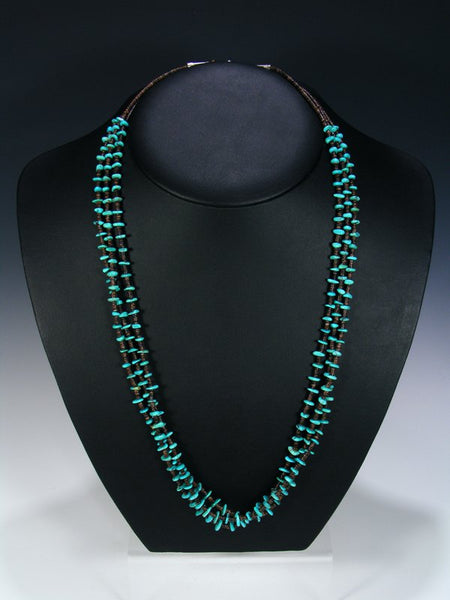 Native American Indian Jewelry 3 Strand Turquoise and Heishi Necklace