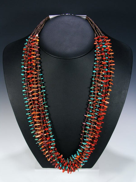 Native American Santo Domingo Ten Strand Necklace