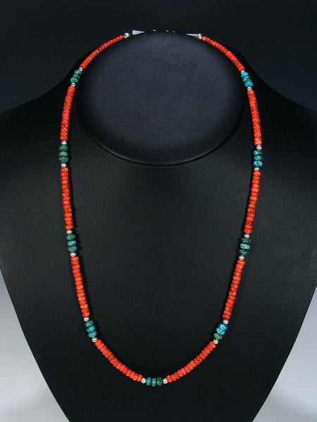Native American Turquoise and Apple Coral Necklace