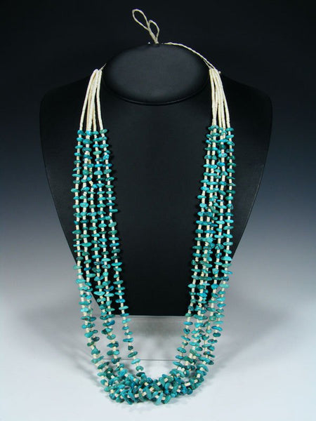 Native American  Santo Domingo Blue Turquoise Necklace