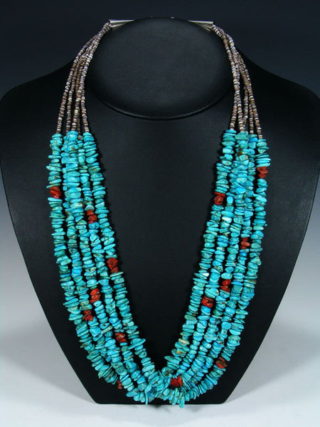 Native American Five Strand Turquoise and Coral Heishi Necklace