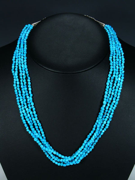 Navajo Sleeping Beauty Turquoise Five Strand Beaded Necklace
