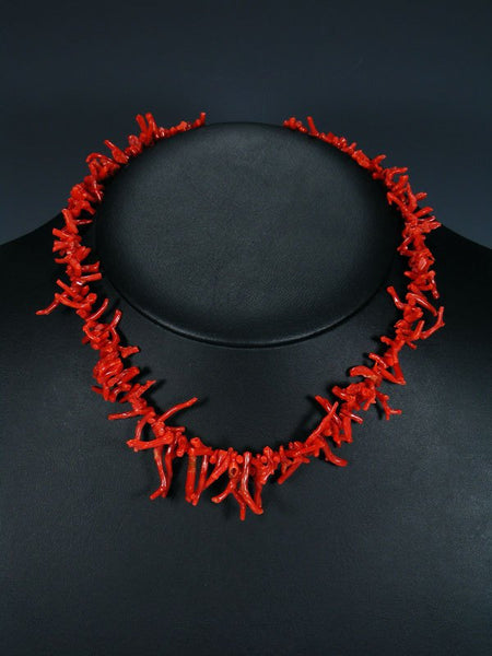 Native American Jewelry Natural Red Branch Coral Necklace