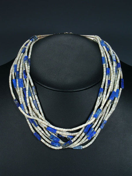 Native American Santo Domingo Lapis and Heishi Necklace