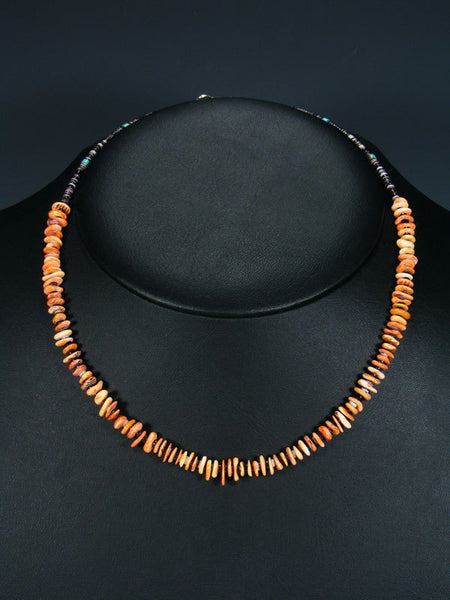 Native American Indian Jewelry Single Strand Spiny Oyster Choker Necklace