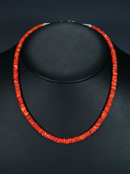 Native American Indian Jewelry Single Strand Red Spiny Oyster Necklace