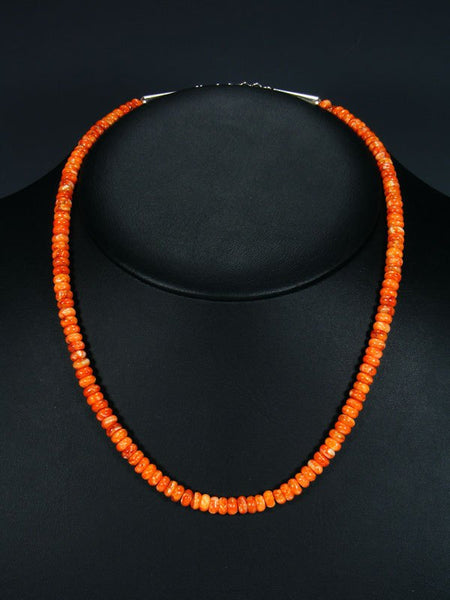 Native American Indian Jewelry Single Strand Orange Spiny Oyster Necklace