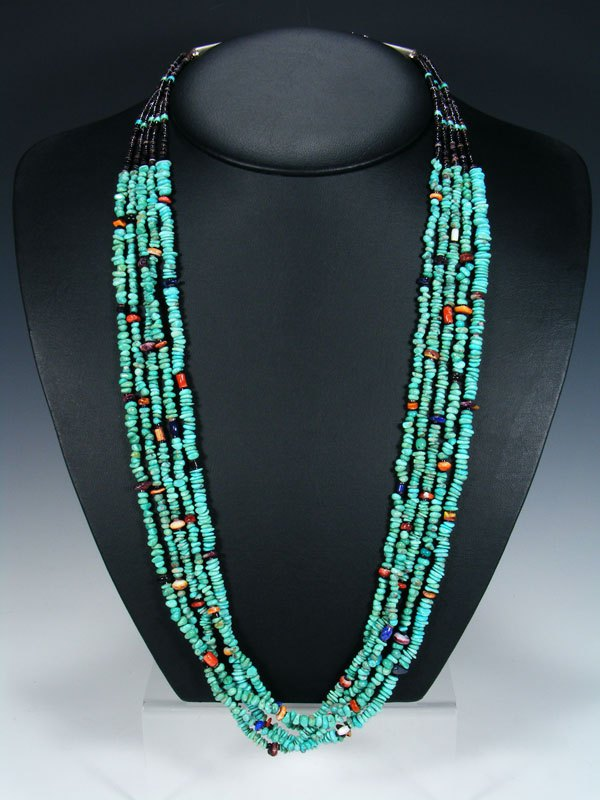 Five Strand Zuni Turquoise Bead and Heishi Necklace