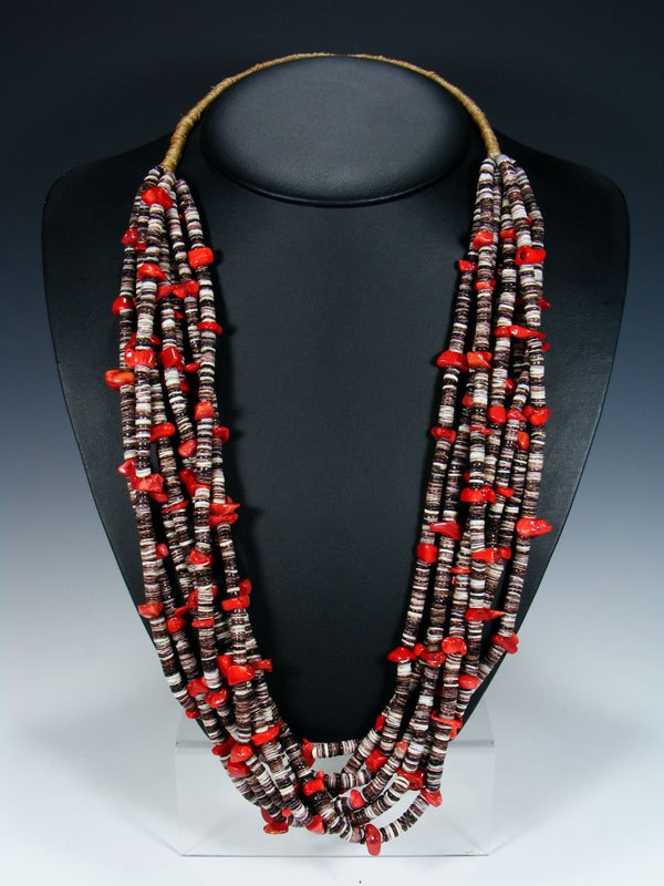 Santo Domingo Eight Strand Grey Shell and Bamboo Coral Heishi Necklace
