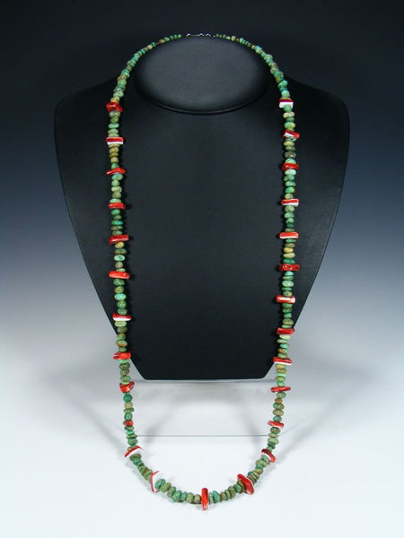 Long Native American Turquoise and Spiny Oyster Single Strand Necklace