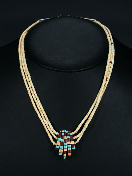 Native American Santo Domingo Shell Heishi Reversible Mosaic Necklace