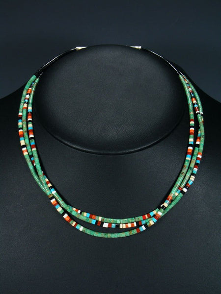 Native American Indian Bead Santo Domingo 3 Strand Necklace