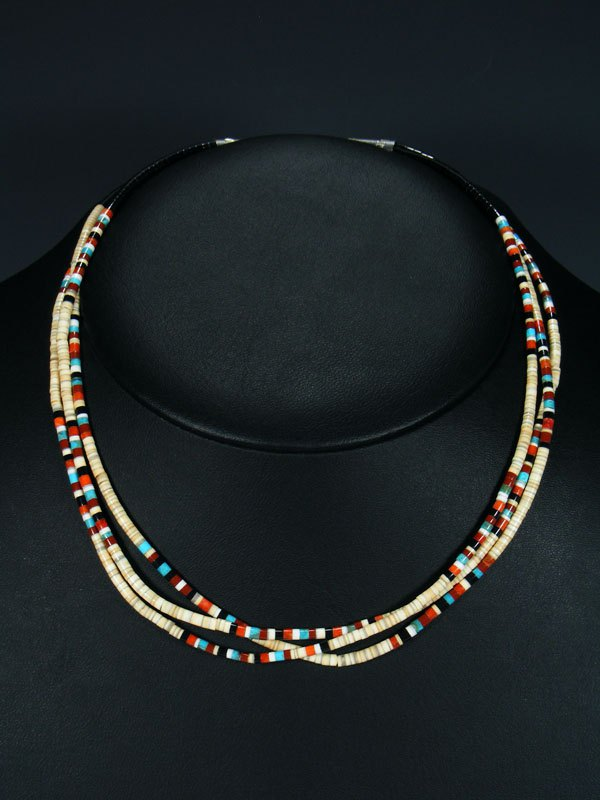 Native American Indian Bead Three Strand Shell Necklace