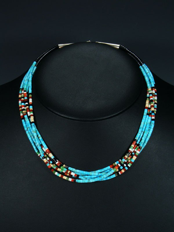 Native American Indian Bead Santo Domingo 5 Strand Necklace
