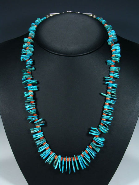 Native American Turquoise Tab and Apple Coral Necklace
