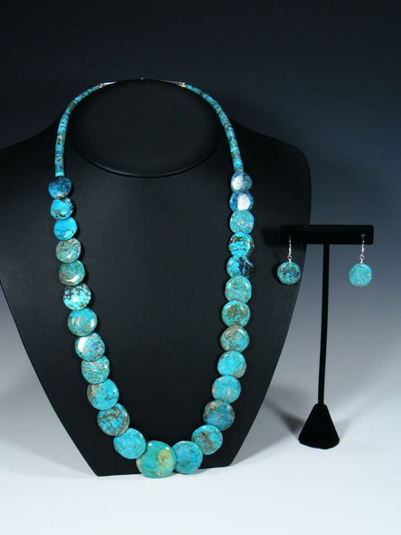 Native American Blue Turquoise Disc Necklace Set