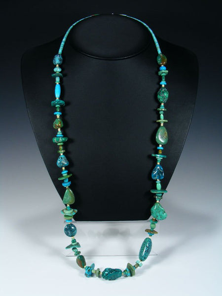 Extra Long Native American Indian Chunky Turquoise Necklace