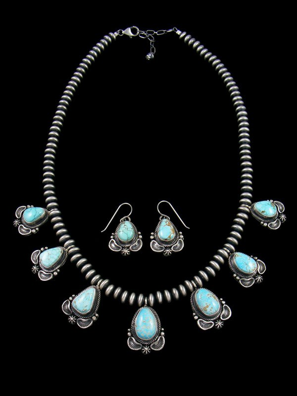Native American Sterling Silver #8 Turquoise Teardrop Necklace and Earring Set