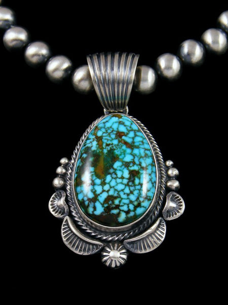 Native American Sterling Silver Kingman Red Web Turquoise Necklace
