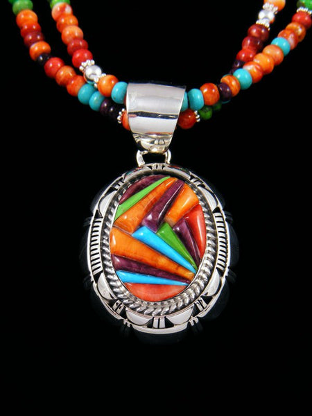 Navajo Spiny Oyster, Turquoise, and Gaspeite Inlay Necklace