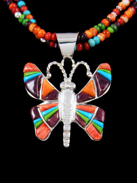 Navajo Spiny Oyster, Turquoise, and Gaspeite Inlay Butterfly Necklace