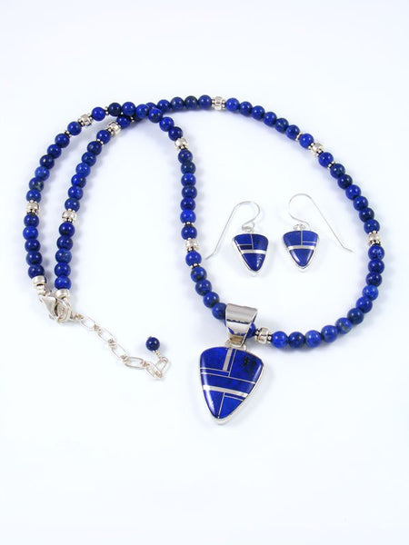 Navajo Lapis Inlay Necklace and Earring Set