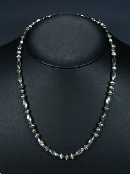Native American Sterling Silver Navajo Handmade Bead Necklace