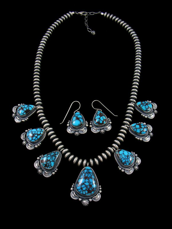 Native American Sterling Silver Kingman Turquoise Teardrop Necklace and Earring Set