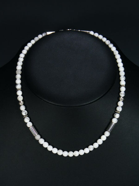 White Marble Single Strand Choker Bead Necklace