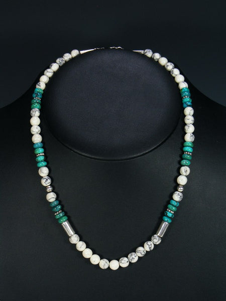 "White Marble and Turquoise 20"" Single Strand Choker Necklace"