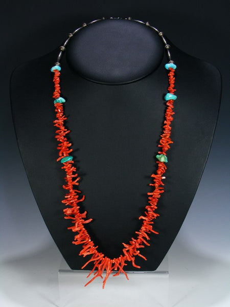 Old Pawn Native American Natural Coral and Turquoise Necklace
