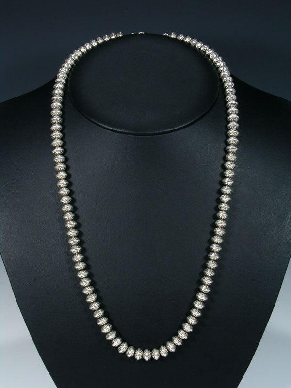 Native American Long Single Strand Sterling Silver Bead Necklace