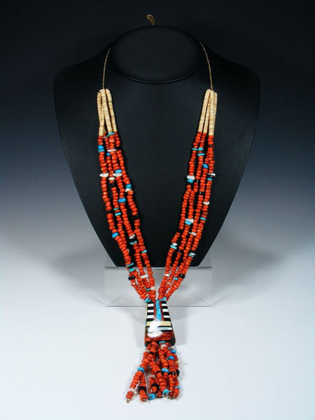 Santo Domingo Four Strand Apple Coral and Turquoise Jocla Necklace