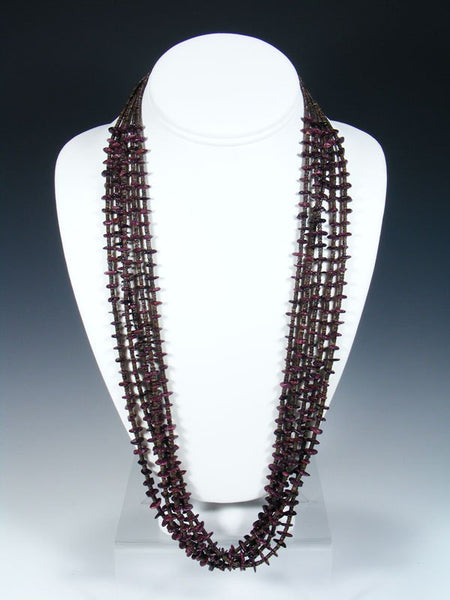 Native American Purple Spiny Oyster and Heishi Necklace