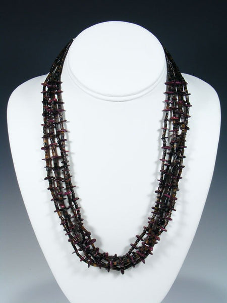 Native American Shell Heishi and Purple Spiny Oyster Necklace
