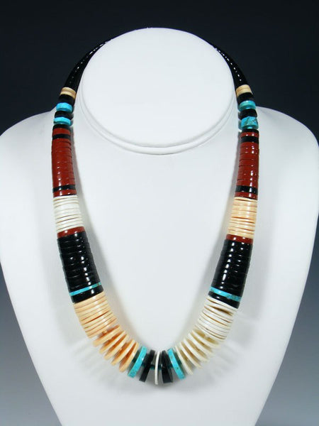 Native American Indian Turquoise and Pipestone Shell Necklace