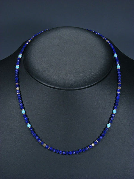 Native American Lapis and Opalite Bead Necklace