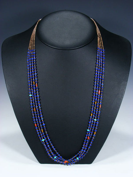 Native American Santo Domingo Lapis and Shell Heishi Necklace