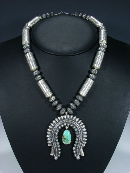 Native American Carico Lake Turquoise Sterling Silver Naja Necklace and Earring Set