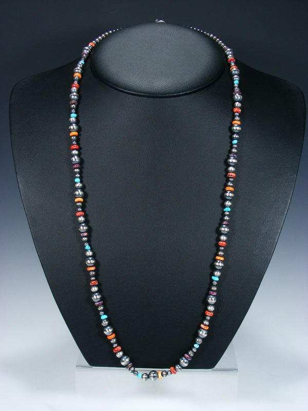 Sterling Silver Oxidized Bead Necklace