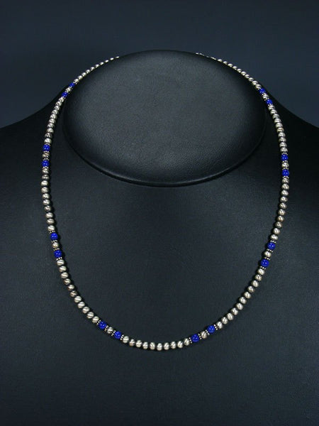 Native American Lapis and Sterling Silver Bead Necklace