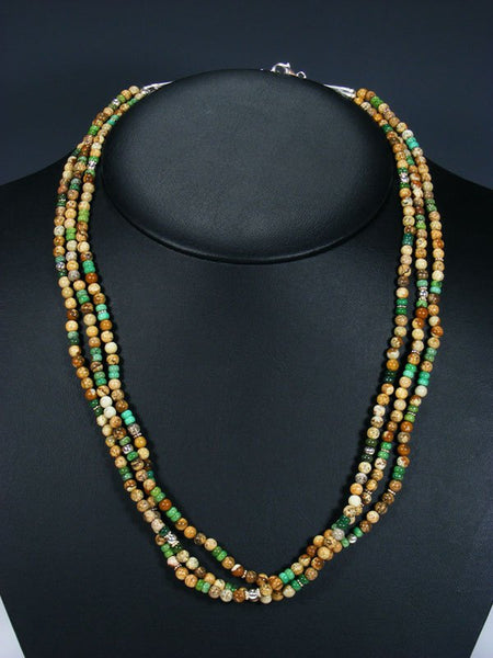 Native American Jasper and Turquoise Bead Multi Strand Necklace