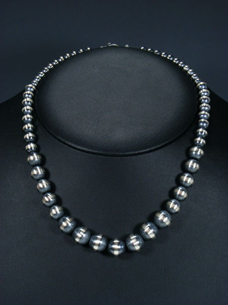 Graduated Sterling Silver Oxidized Bead Necklace