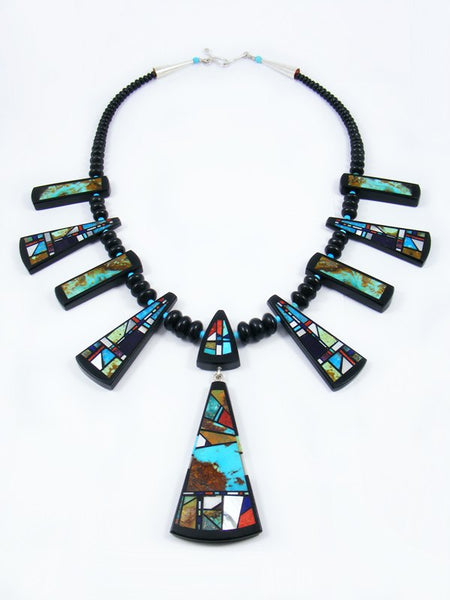 Native American Santo Domingo Inlay Squash Blossom Style Necklace
